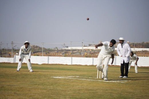 Stock Photo: 1491R-1185380 A game of cricket in progress