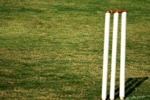 Stumps in the cricket ground : Stock Photo