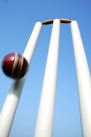 Low angle view of the cricket stumps : Stock Photo