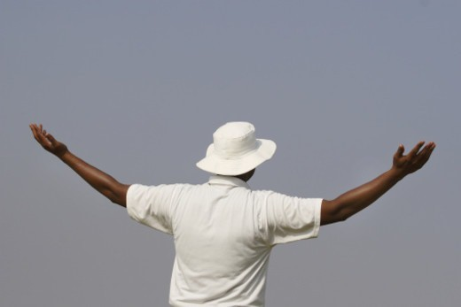 Stock Photo: 1491R-1187047 A cricketer raising his both hands wide