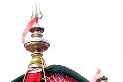 Stock Photo: 1491R-1187934 A trishul head religiously decorated