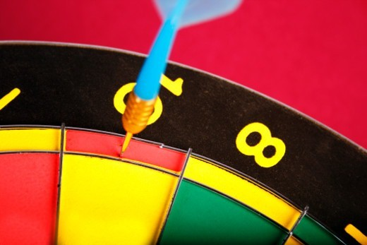 Dart on the dart board : Stock Photo