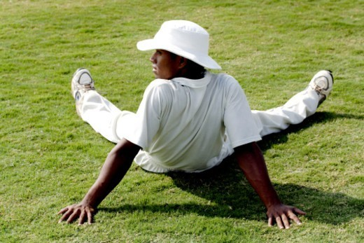 Rear view of a cricketer resting : Stock Photo