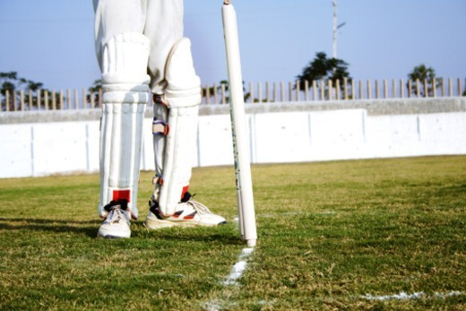 Partial view of a wicket keeper : Stock Photo