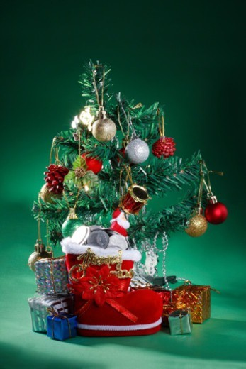 A decorated Christmas tree : Stock Photo