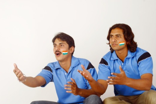Close up shot of Indian cricket fans : Stock Photo