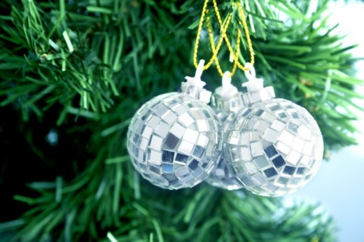 Stock Photo: 1491R-1195682 Decorative ornament hanging from a pine tree