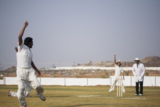 Stock Photo: 1491R-1195791 Bowlers and fielders appealing to the umpire