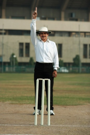 Umpire signaling out, Cricket : Stock Photo