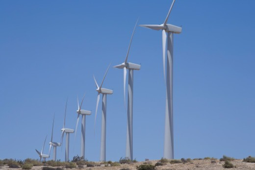 Rows of windmills on a sunny day in Palm Spring CA area. : Stock Photo