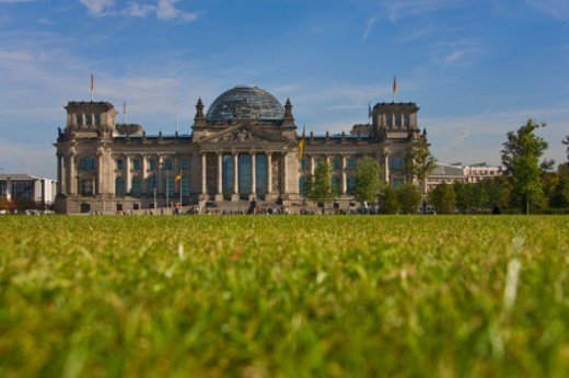 Stock Photo: 1491R-1199254 The Reichstag building is a historical edifice in Berlin. In 1990 it underwent a reconstruction led by internationally renowned architect Norman Foster. After its completion in 1999, it once again became the meeting place of the German parliament: the modern Bundestag.