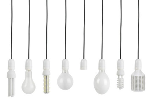 Stock Photo: 1491R-1200820 Variety of light bulbs shot in a row. The bulbs are of various shapes and they are isolated on white. Studio shot, horizontal frame.