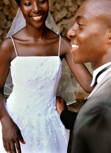 Stock Photo: 1491R-131203 close-up of a bride and groom