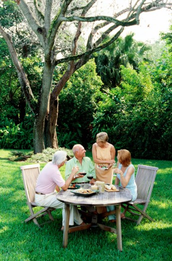 Stock Photo: 1491R-134289 portrait of two mature couples having a meal outdoors