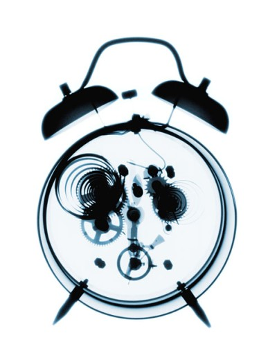 Stock Photo: 1491R-136022 x-ray image of an alarm clock