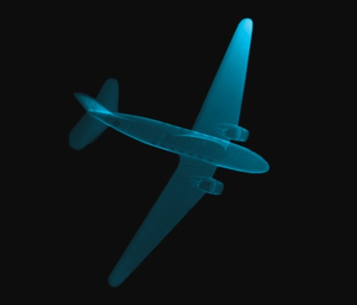 Stock Photo: 1491R-136069 x-ray image from the top of a model airplane