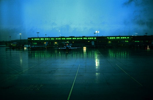 Stock Photo: 1491R-147053 view of an airport runway in the night