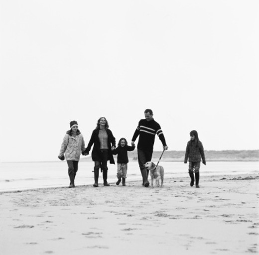 black and white portrait of a couple walking on the beach with their three daughters and dog : Stock Photo