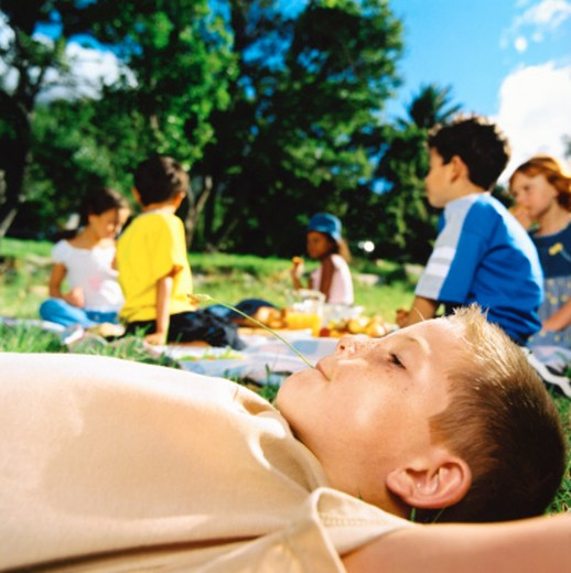 shot of a young boy (6-8) lying on the grass and his friends sitting around him : Stock Photo