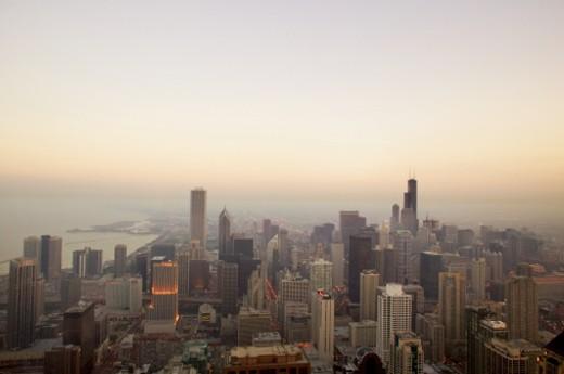 Stock Photo: 1491R-230090 Ariel view of Lake Michigan, Chicago, Illinois