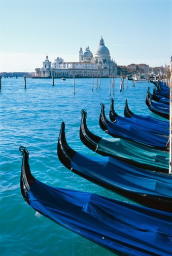 Stock Photo: 1491R-230099 gondolas with the Church of Santa Maria Della