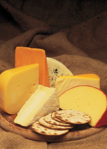 Stock Photo: 1491R-25035 close-up of an array of assorted cheesed with crackers