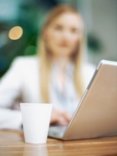 businesswoman using a laptop : Stock Photo