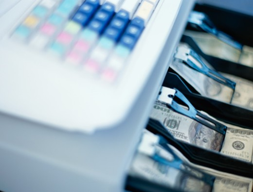 Stock Photo: 1491R-258023 close-up of a cash register in a store