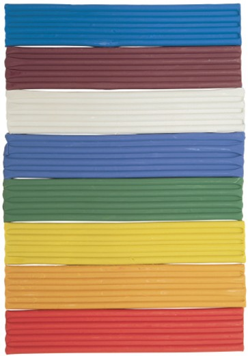 Stock Photo: 1491R-29109 colorful strips of unused play dough