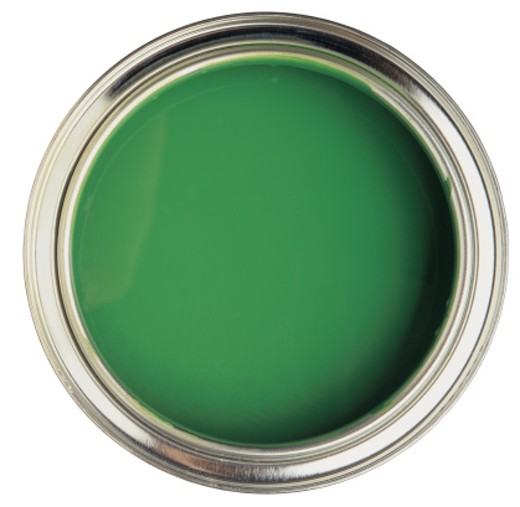 an open can of green paint : Stock Photo