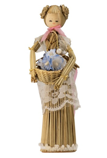 wicker wooden female doll : Stock Photo