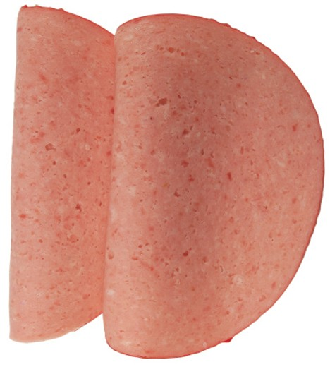 close-up of round slices of ham : Stock Photo
