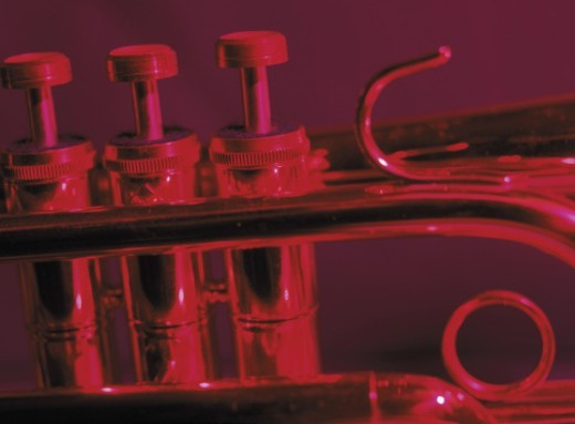 Stock Photo: 1491R-36045 close-up of keys of trumpet (infrared)
