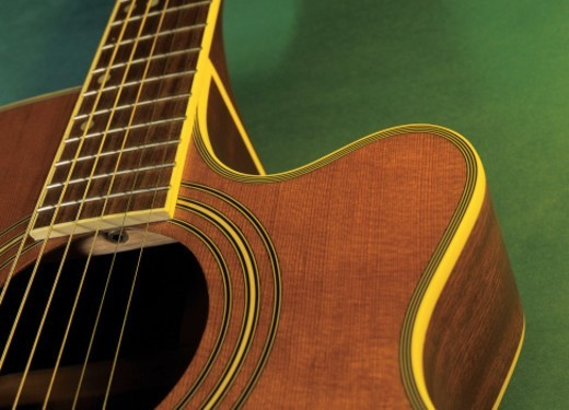 close-up of an acoustic guitar : Stock Photo