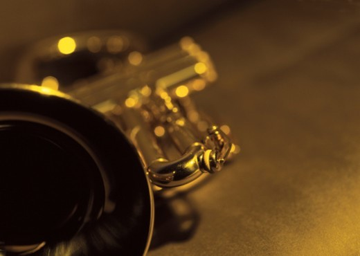 Stock Photo: 1491R-36086 close-up of a trumpet (blurred)