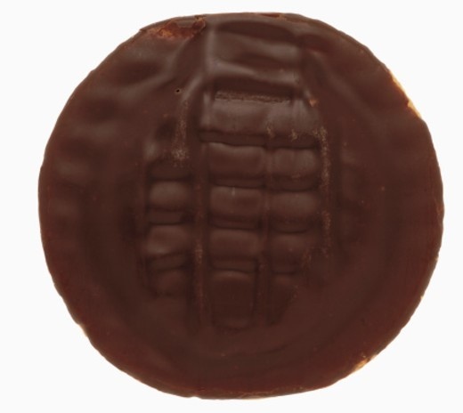 close-up of a chocolate coated cookie : Stock Photo