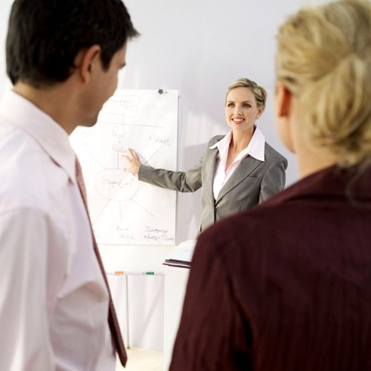 portrait of a business executive giving a presentation : Stock Photo