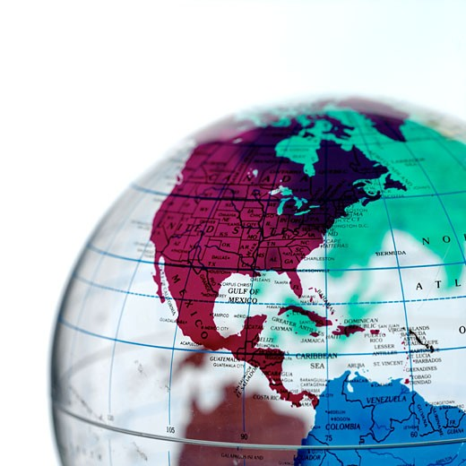 Stock Photo: 1491R-99586 Transparent globe with Central and North America prominent, close up