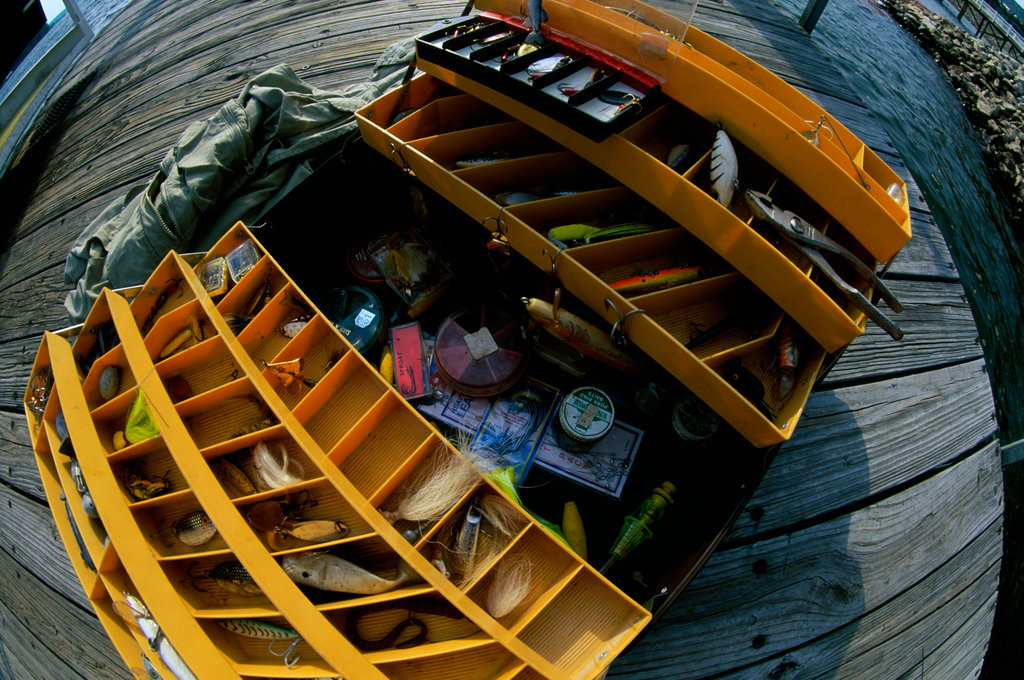 High angle view of a fishing tackle box : Stock Photo