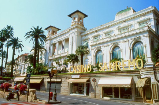 Facade of a casino, San Remo Casino, San Remo, Italy : Stock Photo