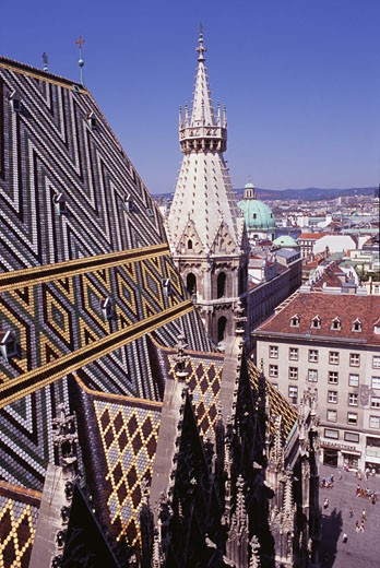 High angle view of a cathedral, St. Stephen's Cathedral, Vienna, Austria : Stock Photo