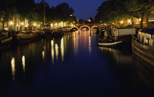 Canal at night, Amsterdam, Netherlands : Stock Photo