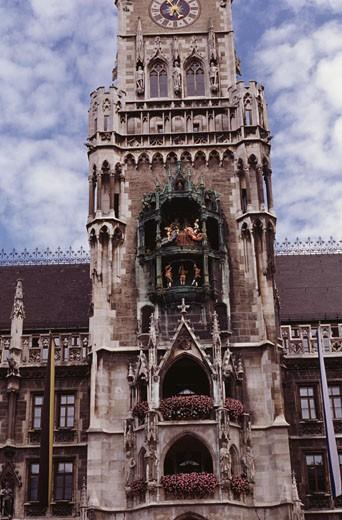 Close-up of a clock tower, Glockenspiel, New Town Hall, Marienplatz, Munich, Germany : Stock Photo