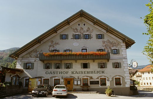 Stock Photo: 1495-458 Facade of a hotel, Gasthof Kaiserblick, Oberaudorf, Bavaria, Germany