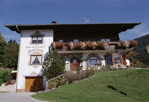 Low angle view of a restaurant, Tyrolean Restaurant, Seefeld, Tyrol, Austria : Stock Photo