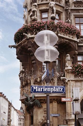 Stock Photo: 1495-510 Low angle view of a lamppost, Marienplatz, Munich, Germany