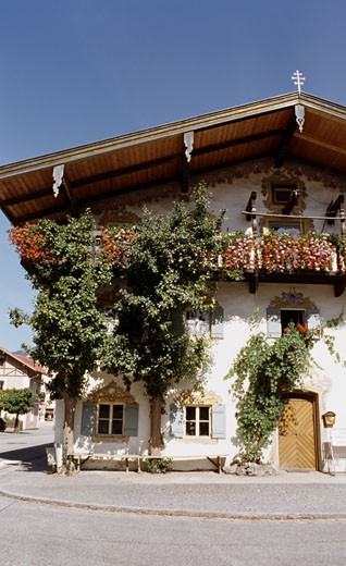Facade of a house, Tyrolean House, Seefeld, Tyrol, Austria : Stock Photo