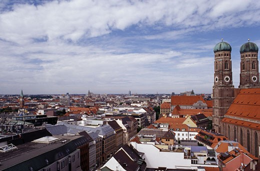 High angle view of a cathedral in a city, Frauenkirche, Marienplatz, Munich, Germany : Stock Photo