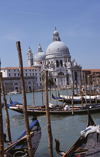 Basilica on the waterfront, Basilica di Santa Maria della Salute, Grand Canal, Venice, Italy : Stock Photo