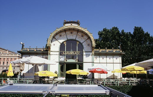 Cafe in front of a railway station, Karlsplatz Station, Vienna, Austria : Stock Photo